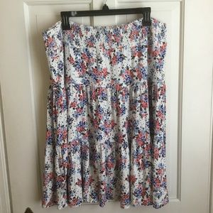 Women's Soft White Floral Skirt Tiered Midi XL